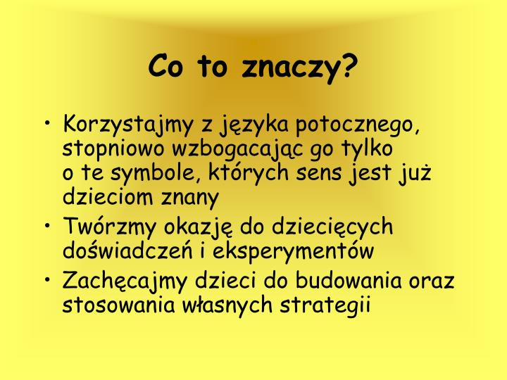 Co to znaczy