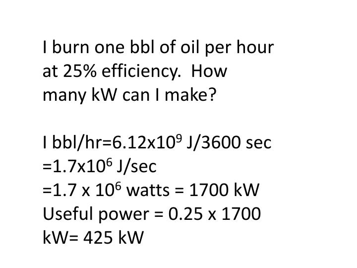 I burn one bbl of oil per hour at 25% efficiency.  How many kW can I make?