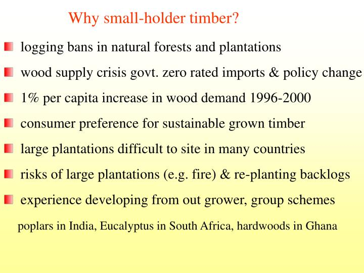 Why small-holder timber?