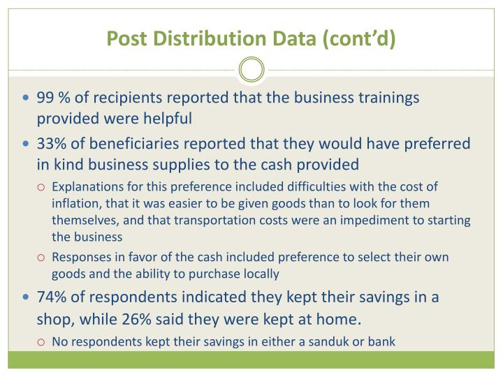 Post Distribution Data (cont'd)