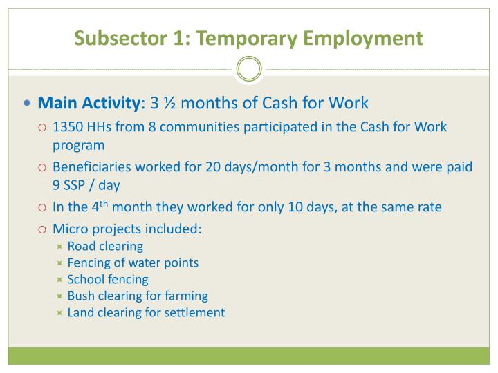 Subsector 1: Temporary Employment