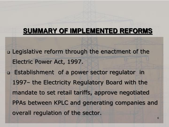 SUMMARY OF IMPLEMENTED REFORMS