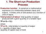 1 the short run production process