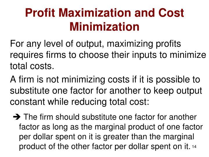 Profit Maximization and Cost Minimization