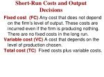 short run costs and output decisions