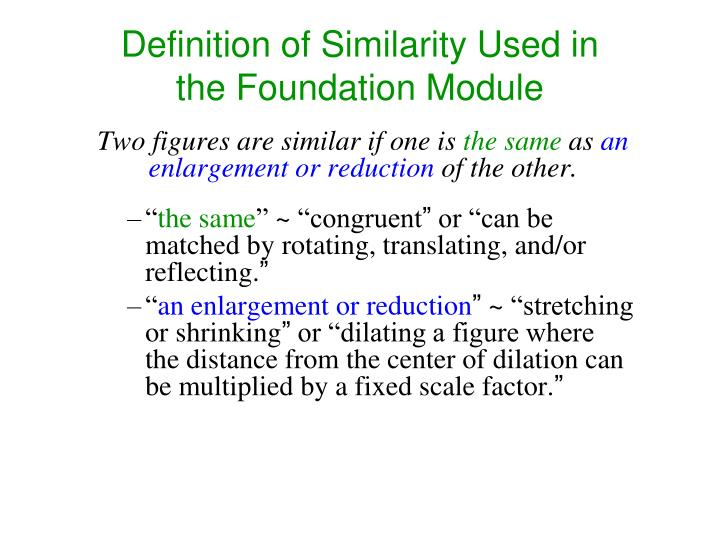 Definition of Similarity Used in