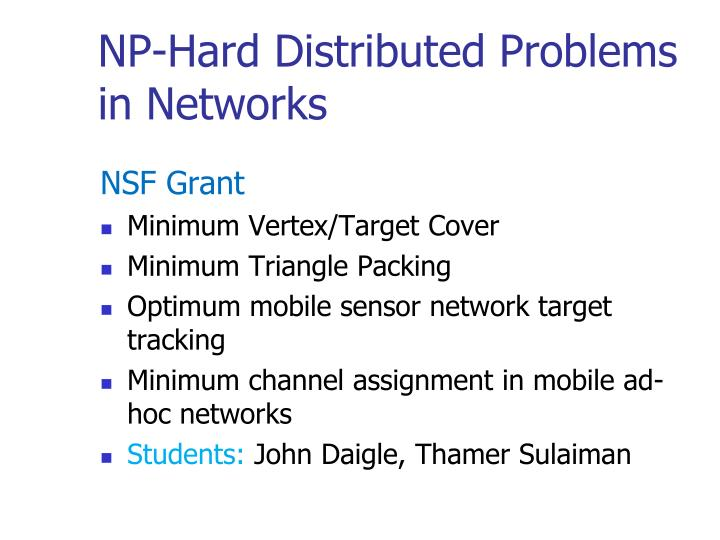 NP-Hard Distributed Problems in Networks
