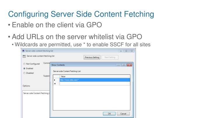 Configuring Server Side Content Fetching