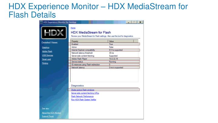 HDX Experience Monitor – HDX MediaStream for Flash Details