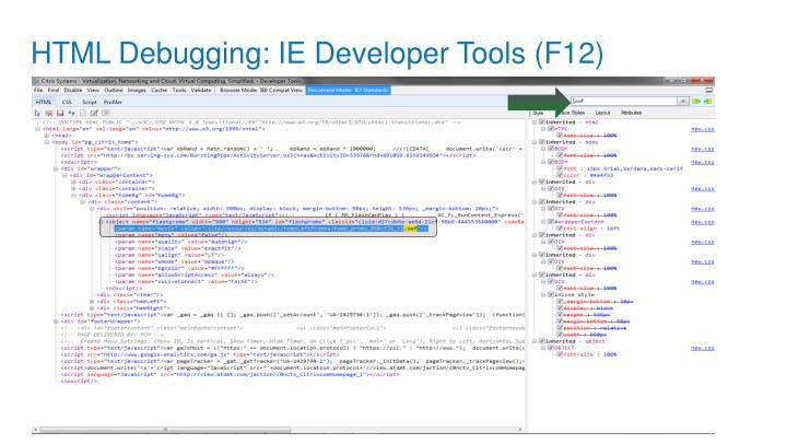 HTML Debugging: IE Developer Tools (F12)