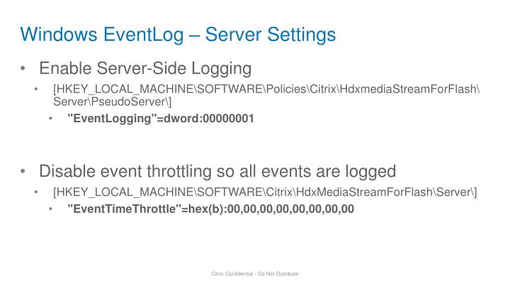 Windows EventLog – Server Settings