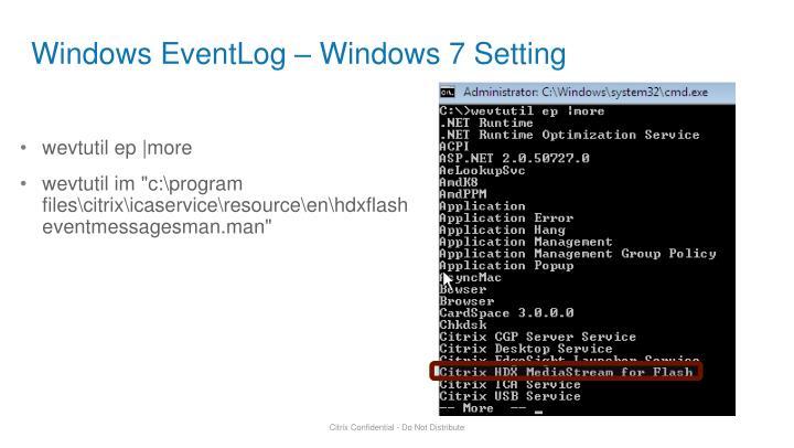 Windows EventLog – Windows 7 Setting