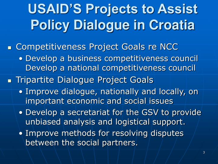 Usaid s projects to assist policy dialogue in croatia