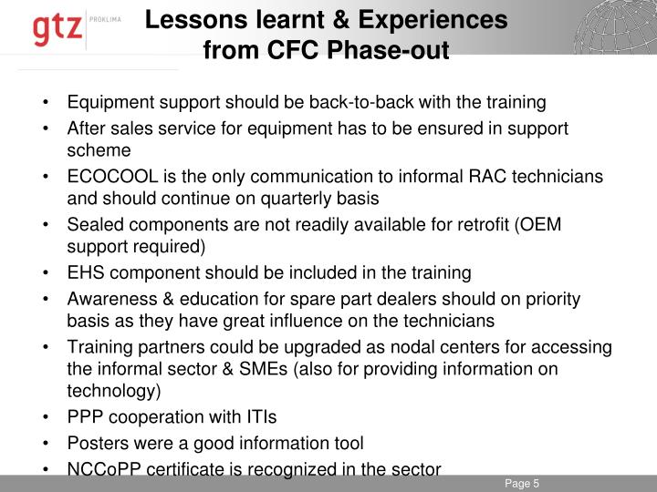 Lessons learnt & Experiences