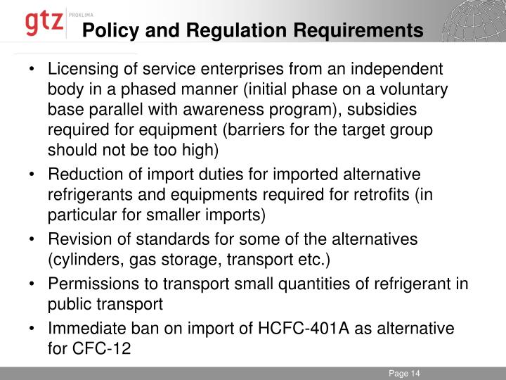 Policy and Regulation Requirements