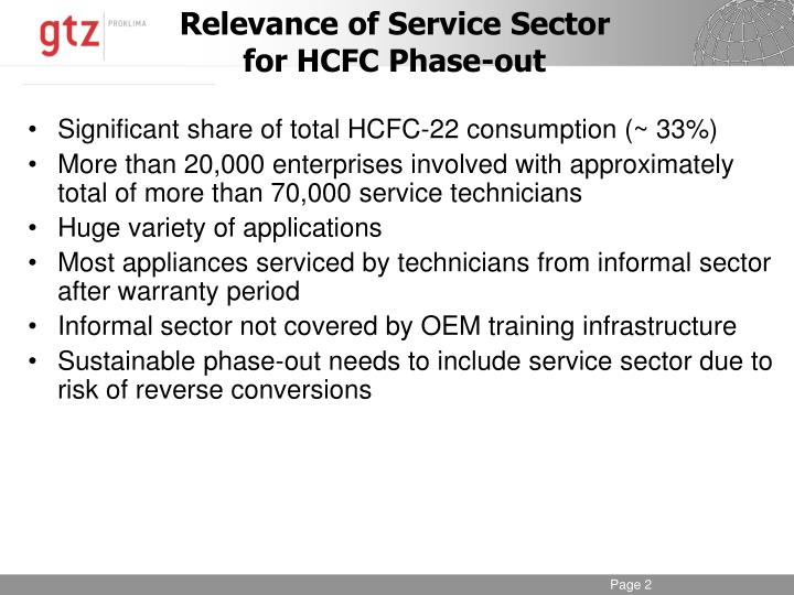 Relevance of service sector for hcfc phase out