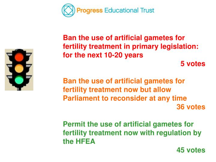 Ban the use of artificial gametes for fertility treatment in primary legislation: for the next 10-20 years