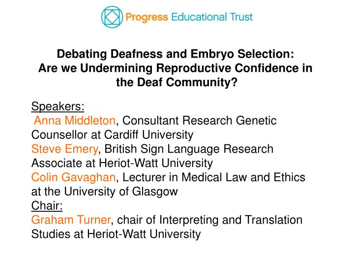 Debating Deafness and Embryo Selection: