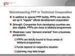 mainstreaming ppp in technical cooperation