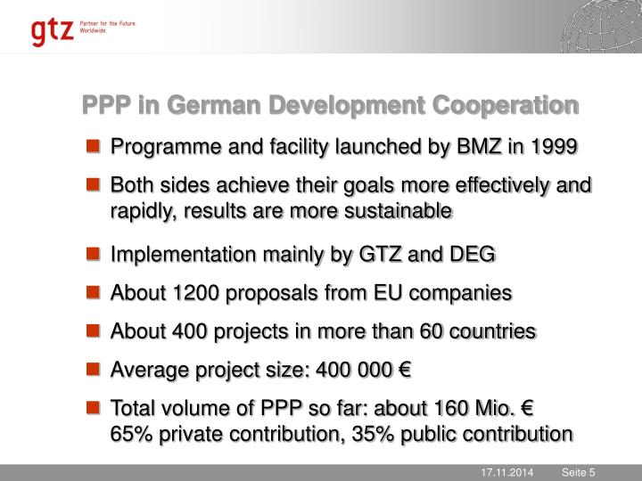 PPP in German Development Cooperation