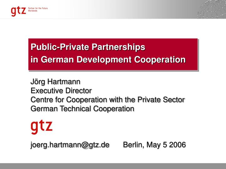 public private partnerships in german development cooperation