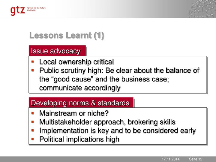 Lessons Learnt (1)