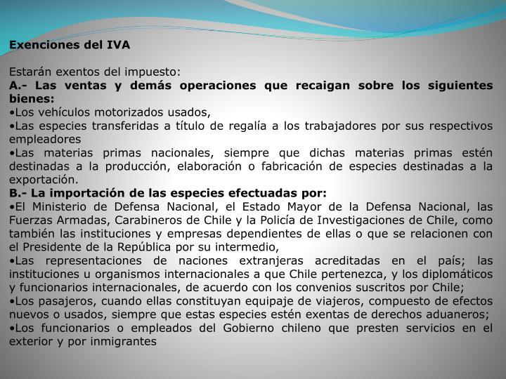 Exenciones del IVA