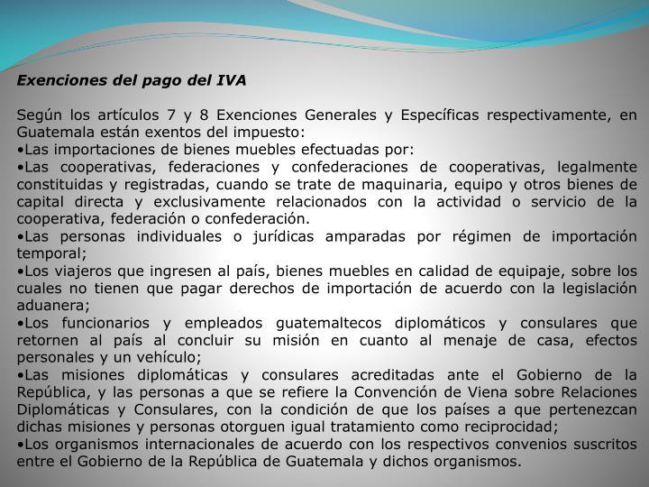 Exenciones del pago del IVA