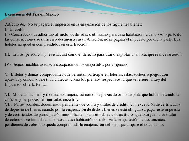 Exenciones del IVA en México