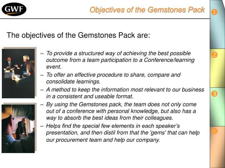 Objectives of the Gemstones Pack