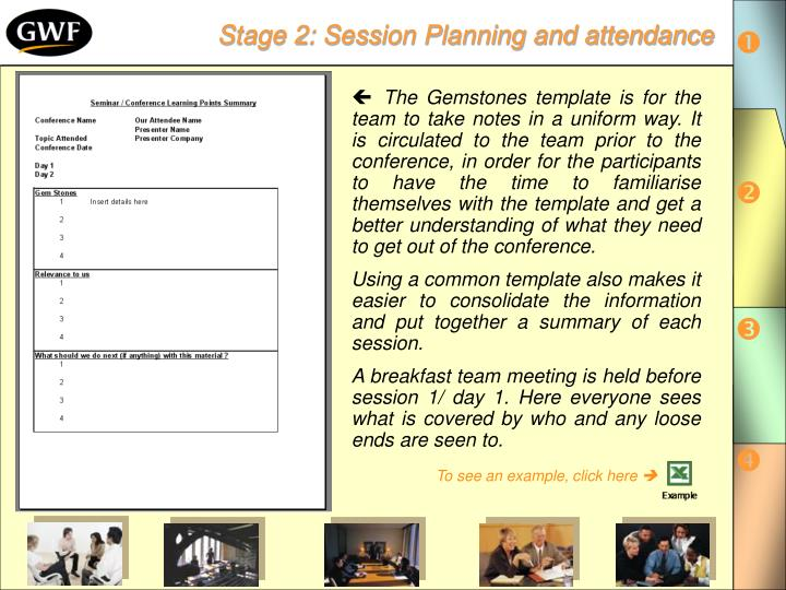 Stage 2: Session Planning and attendance