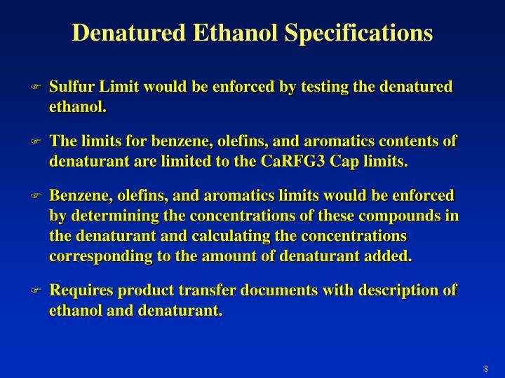 Denatured Ethanol Specifications