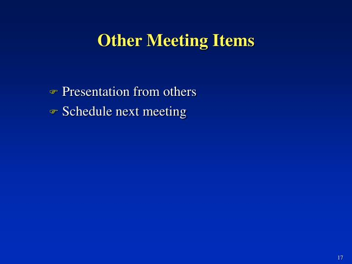 Other Meeting Items