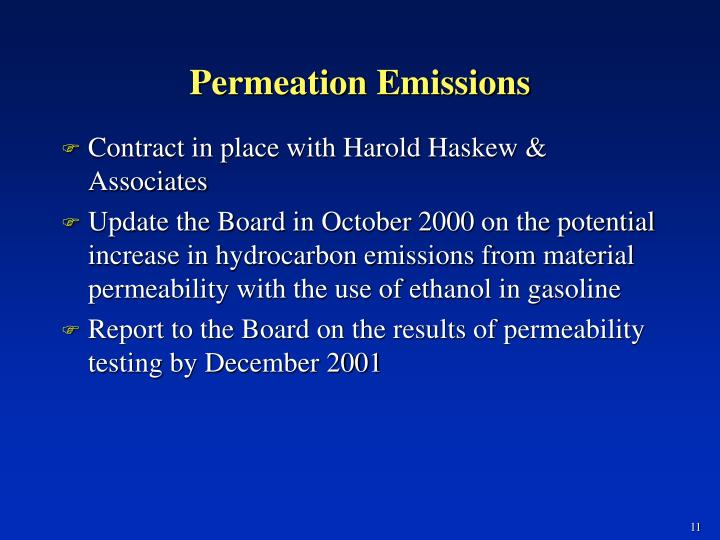 Permeation Emissions
