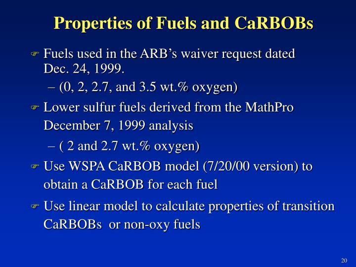 Properties of Fuels and CaRBOBs