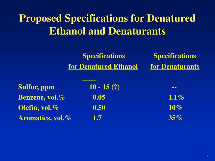 Proposed Specifications for Denatured Ethanol and Denaturants