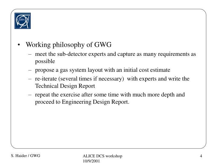 Working philosophy of GWG