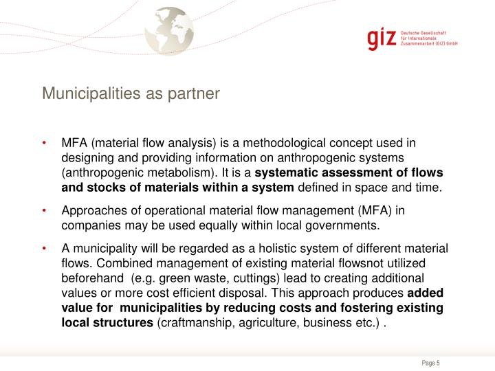 Municipalities as partner