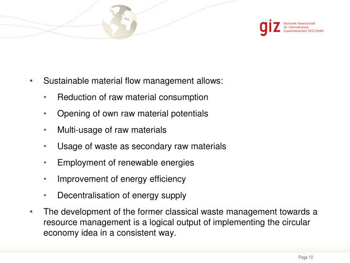 Sustainable material flow management