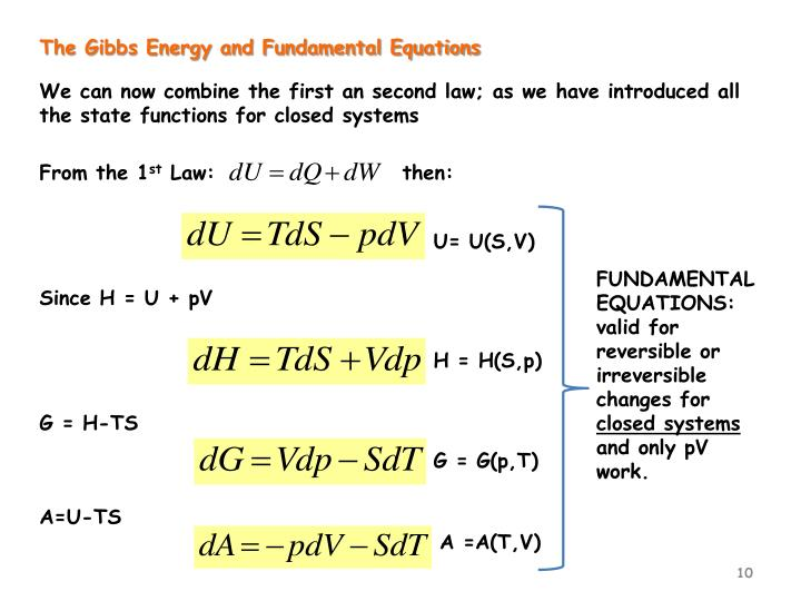 The Gibbs Energy and Fundamental Equations