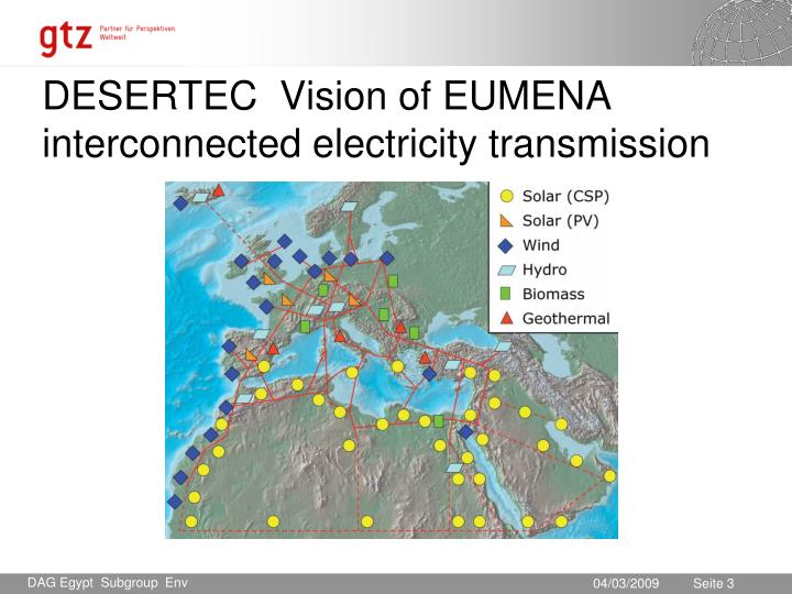 Desertec vision of eumena interconnected electricity transmission