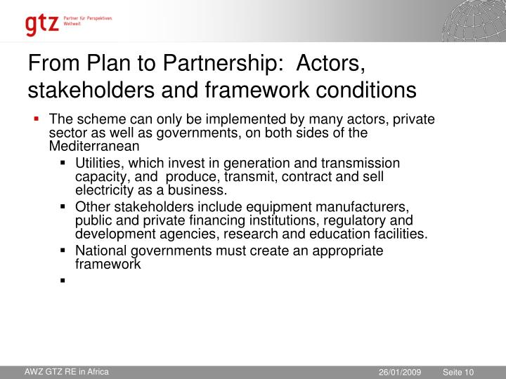 From Plan to Partnership:  Actors, stakeholders and framework conditions