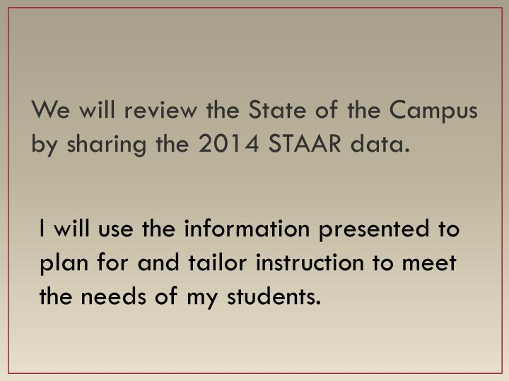We will review the State of the Campus by sharing the 2014 STAAR data.
