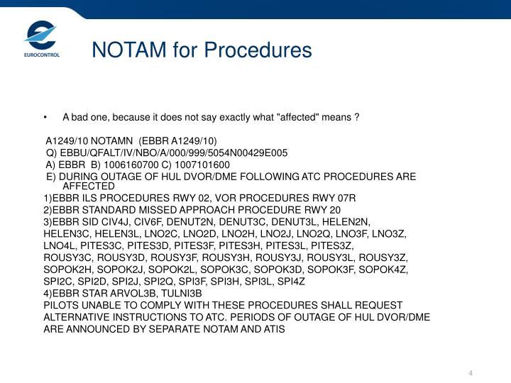 NOTAM for Procedures