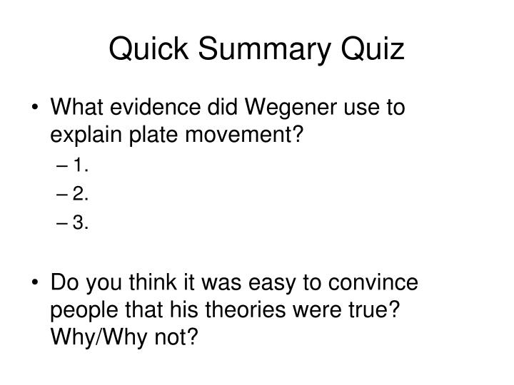 Quick Summary Quiz
