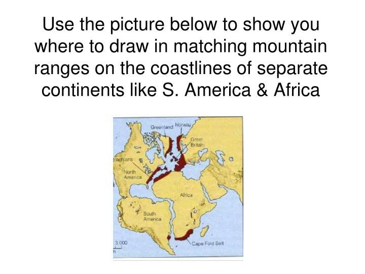 Use the picture below to show you where to draw in matching mountain ranges on the coastlines of separate continents like S. America & Africa