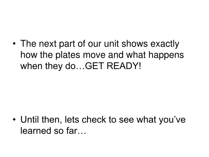 The next part of our unit shows exactly how the plates move and what happens when they do…GET READY!