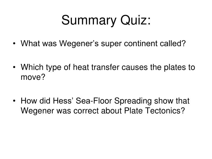 Summary Quiz:
