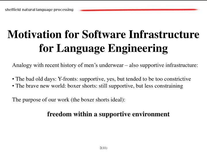 Motivation for Software Infrastructure for Language Engineering