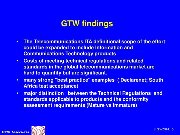 GTW findings